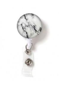 Name Badge Reel Marble White