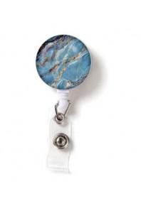 Name Badge Reel Marble Blue