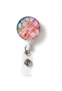 Name Badge Reel Pastel Marble